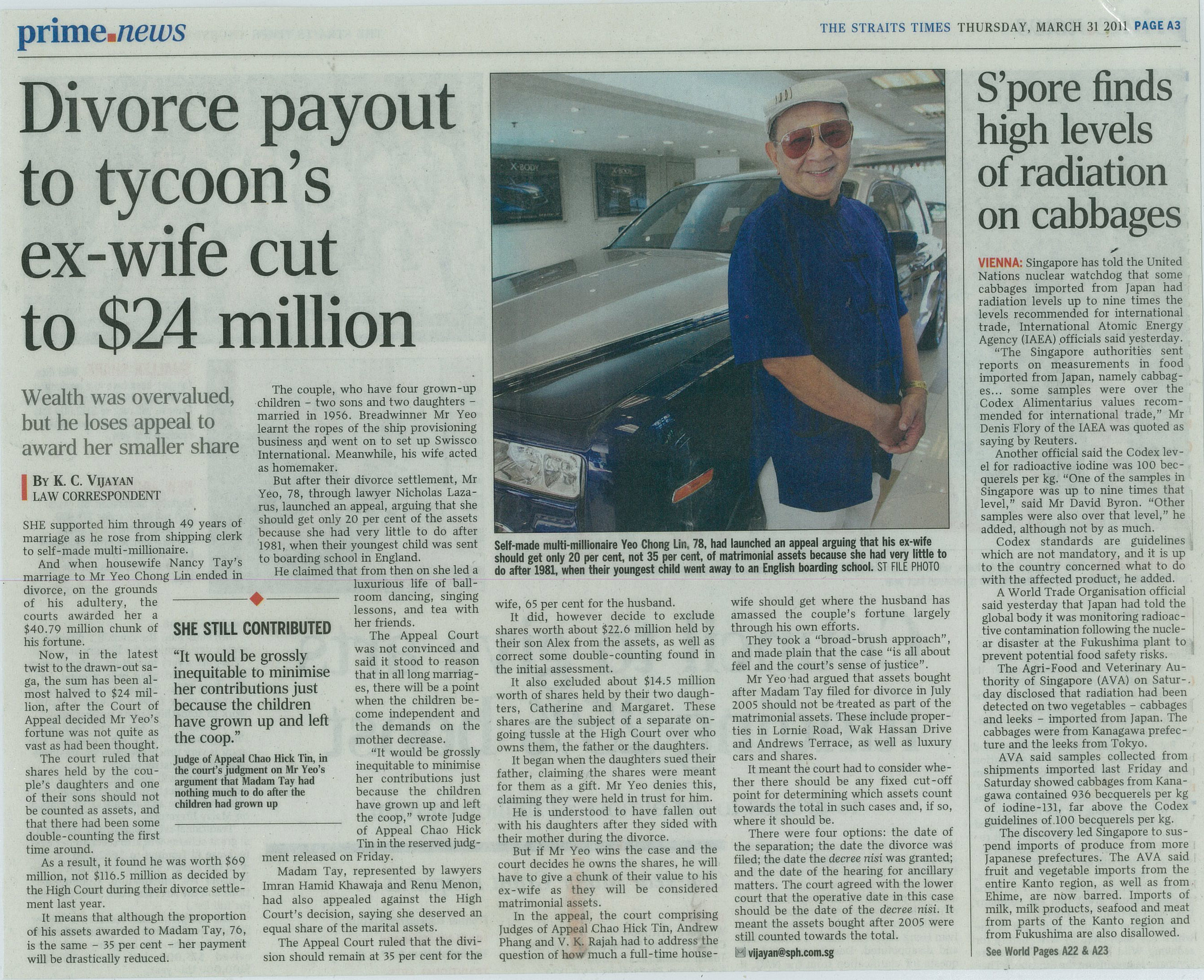 The Straits Times on 31 March 2011 Yeo Chong Lin divorce (1)