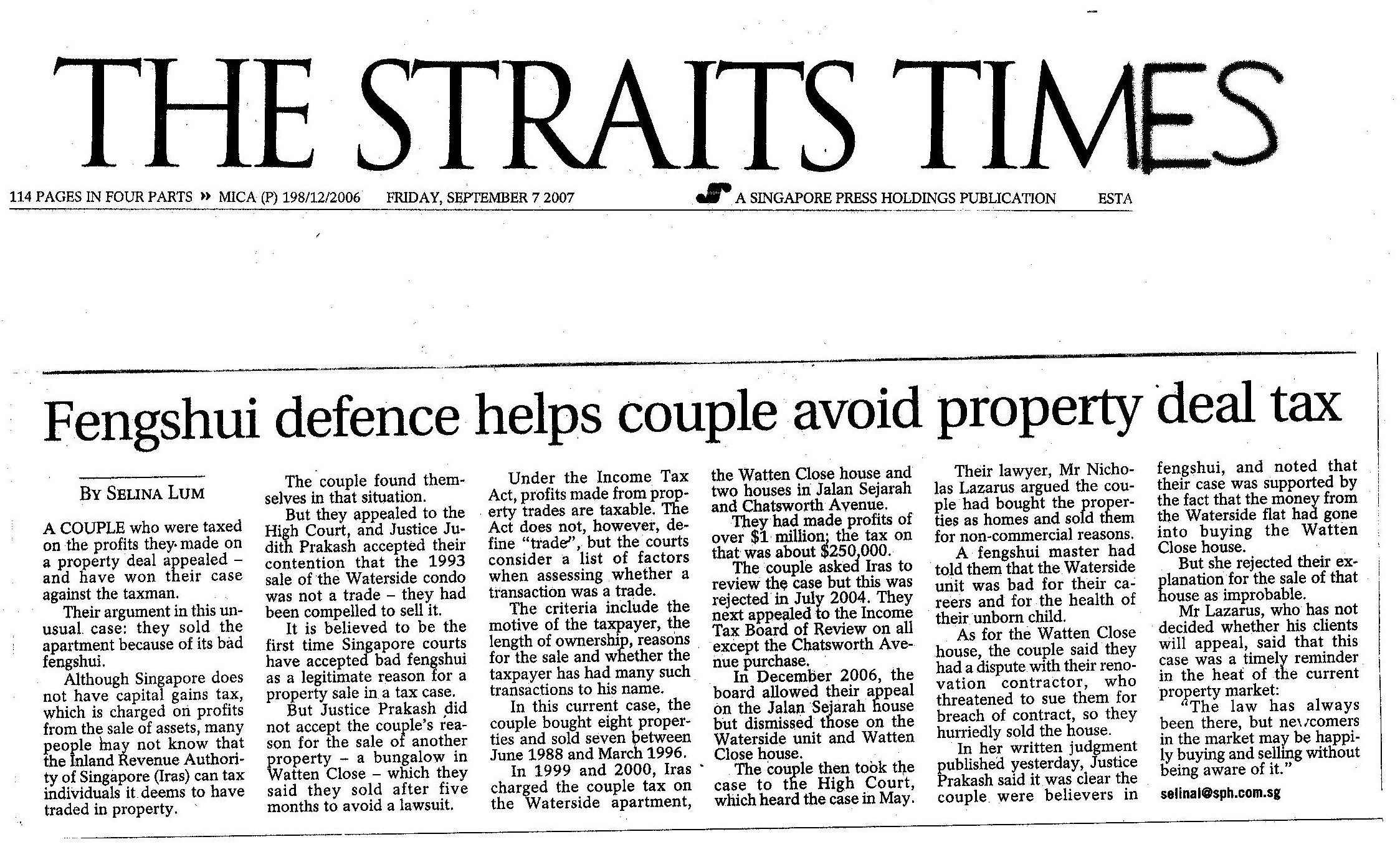 The Straits Times on 7 Sept 2007